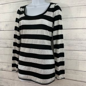 Women's Express Black and White Stripped Shirt